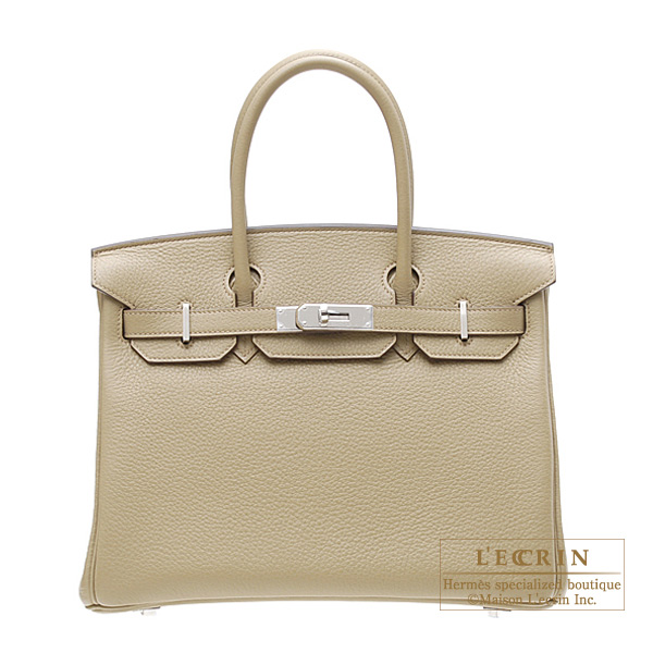 Hermes Birkin bag 30 Poussiere/Dust Clemence leather Silver hardware