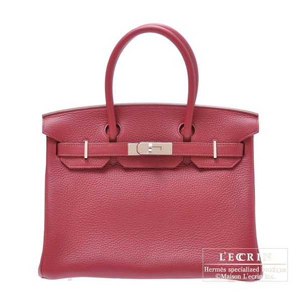 Hermes Birkin bag 30 Ruby/Dark red Clemence leather Silver hardware