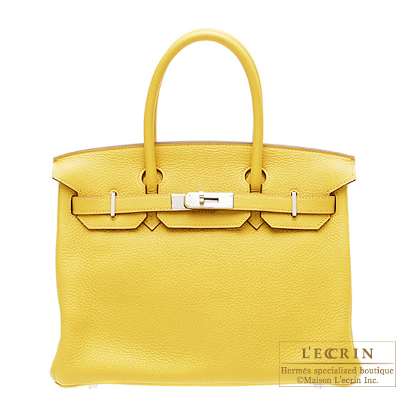 Hermes Birkin bag 30 Soleil/Yellow Clemence leather Silver hardware