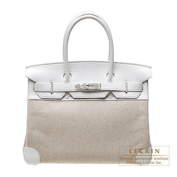 Hermes Birkin bag 30White Cotton canvas with clemence leather Silver hardware