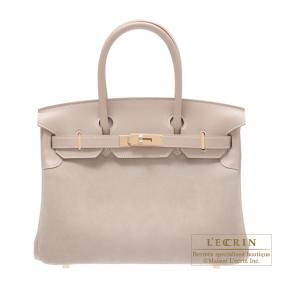 Hermes Birkin bag 30 Argile beige Grizzly leather with Swift leather Champagne Gold hardware