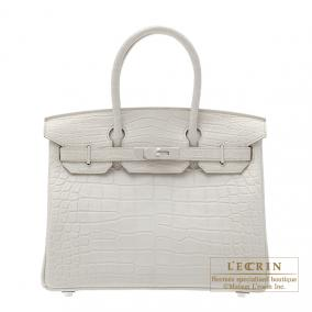 Hermes Birkin bag 30 Beton/Beton light grey Matt alligator crocodile skin Silver hardware