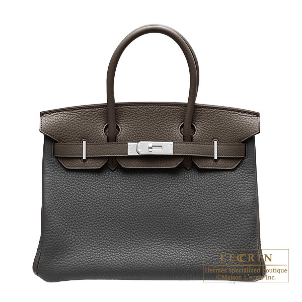 Hermes Birkin bag 30 Bi-color Black/Ebony Clemence leather Silver hardware