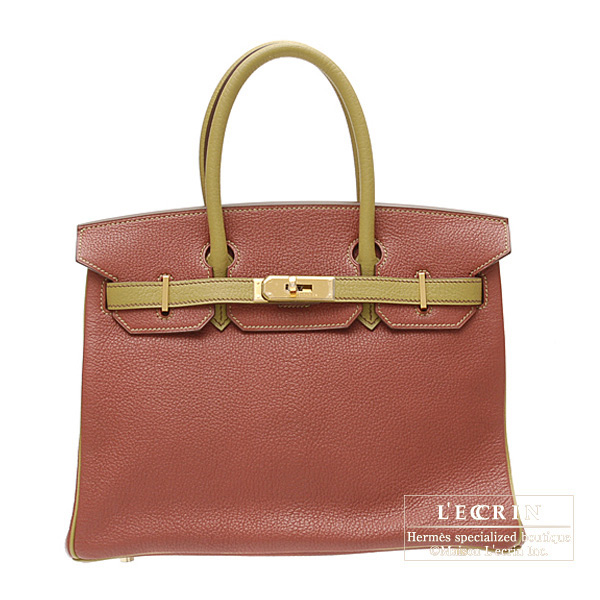 Hermes Birkin bag 30 Bi-color Brique/Olive green Chevre goatskin Gold hardware