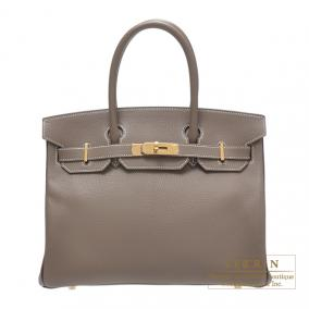 Hermes Birkin bag 30 Bi-color Etoupe/Raisin/Violet Chevre goatskin Gold hardware