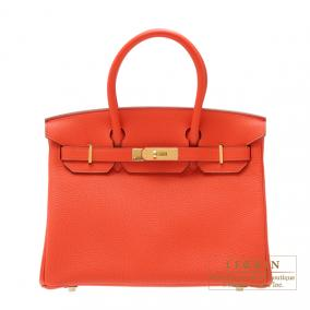 Hermes Birkin bag 30 Capucine/Capucine orange Togo leather Gold hardware