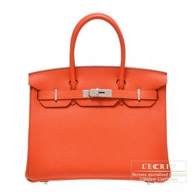 Hermes Birkin bag 30 Capucine/Capucine orange Togo leather Silver hardware