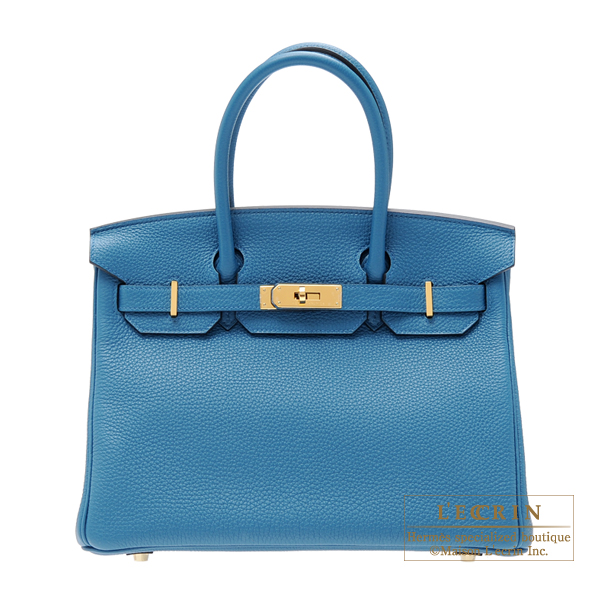 Hermes Birkin bag 30 CobaltCobalt Blue Togo leather Gold hardware