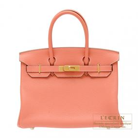 Hermes Birkin bag 30 Crevette/Crevette pink Clemence leather Gold hardware
