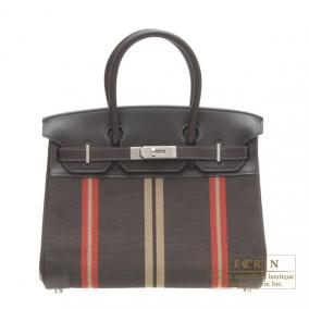 Hermes Birkin bag 30 Ebene/Ebony Cotton canvas with evercalf leather Silver hardware