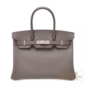Hermes Birkin bag 30 Etain/Etain grey Epsom leather Silver hardware
