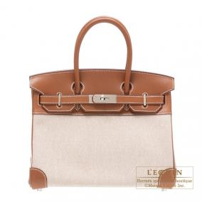 Hermes Birkin bag 30 Fauve Natural Cotton canvas with barenia Silver hardware