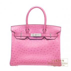 Hermes Birkin bag 30 Fuschia pink Ostrich leather Silver hardware