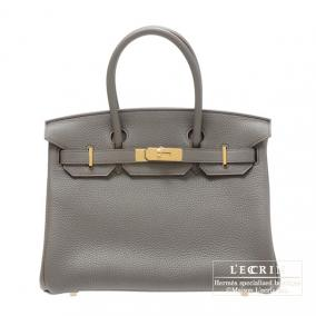 Hermes Birkin bag 30 Gris Etain/Etain grey Clemence leather Gold hardware