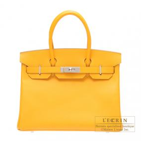 Hermes Birkin bag 30 Jaune d\'or/Yellow gold Epsom leather Silver hardware
