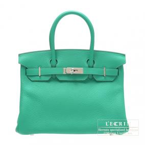 Hermes Birkin bag 30 Menthe/Mint green Clemence leather Silver hardware