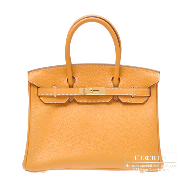 1ed45a675520 Hermes Birkin bag 30 Moutarde Mustard yellow Clemence leather Gold hardware