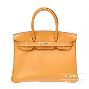 Hermes Birkin bag 30 Moutarde/Mustard yellow Clemence leather Gold hardware