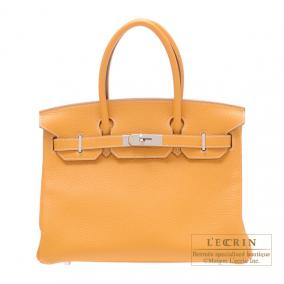 Hermes Birkin bag 30 Moutarde/Mustard yellow Clemence leather Silver hardware