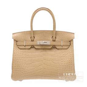 Hermes Birkin bag 30 Poussiere/Dust Matt alligator crocodile skin  Silver hardware