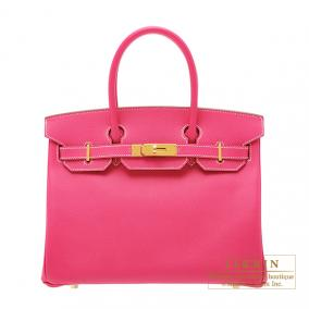 Hermes Birkin bag 30 Rose Tyrien/Hot pink Epsom leather Gold hardware