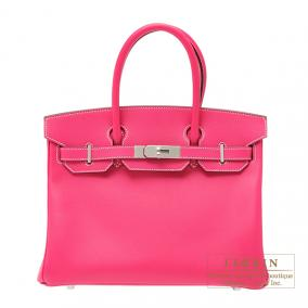 Hermes Birkin bag 30 Rose Tyrien/Hot pink Epsom leather Silver hardware