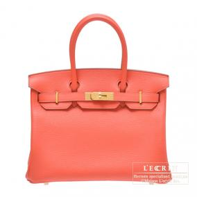 Hermes Birkin bag 30 Rose jaipur/Indian pink Clemence leather Gold hardware