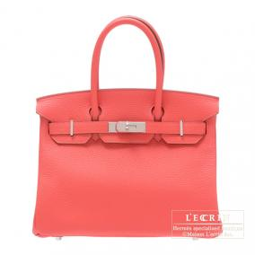 Hermes Birkin bag 30 Rose jaipur/Indian pink Clemence leather Silver hardware