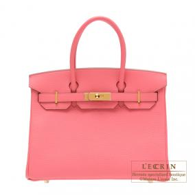 Hermes Birkin bag 30 Rose lipstick Togo leather Gold hardware