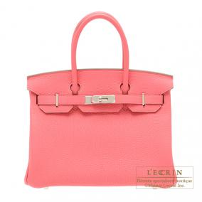 Hermes Birkin bag 30 Rose lipstick Togo leather Silver hardware