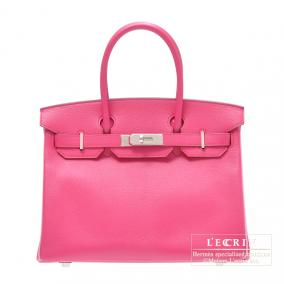 Hermes Birkin bag 30 Rose shocking/Pink Chevre goatskin Silver hardware