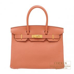Hermes Birkin bag 30 Rose the laiton/Rose tea Clemence leather Gold hardware
