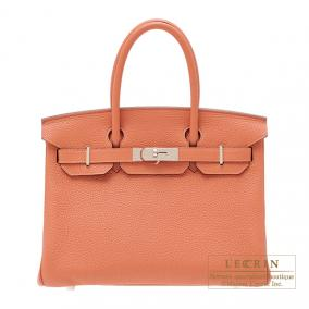 Hermes Birkin bag 30 Rose the laiton/Rose tea Clemence leather Silver hardware