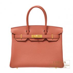 Hermes Birkin bag 30 Rosy/Orange pink Togo leather Gold hardware