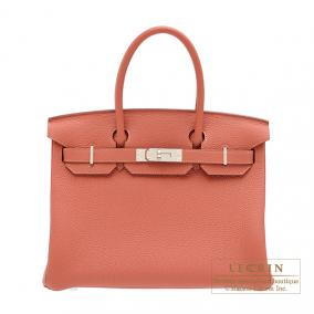 Hermes Birkin bag 30 Rosy/Orange pink Togo leather Silver hardware