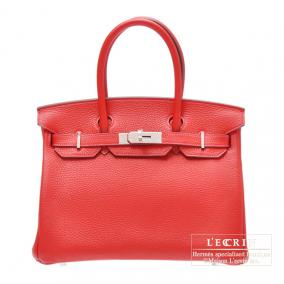 Hermes Birkin bag 30 Rouge casaque/Bright red Clemence leather Silver hardware