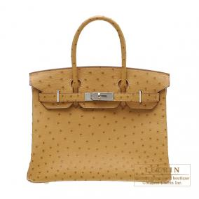 Hermes Birkin bag 30 Saffron Ostrich leather Silver hardware
