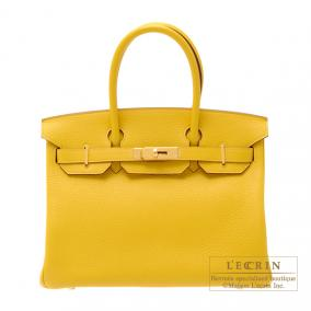 Hermes Birkin bag 30 Soleil/Yellow Clemence leather Gold hardware