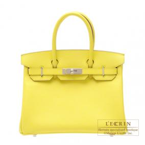 Hermes Birkin bag 30 Soufre/Soufre yellow Epsom leather Silver hardware