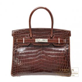 Hermes Birkin bag 30 Terre/Dark brown Niloticus crocodile skin Silver hardware