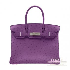 Hermes Birkin bag 30 Violet/Purple Ostrich leather Silver hardware