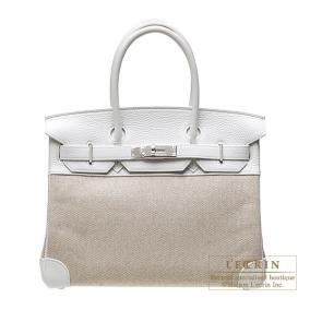 Hermes Birkin bag 30 White Cotton canvas with clemence leather Silver hardware