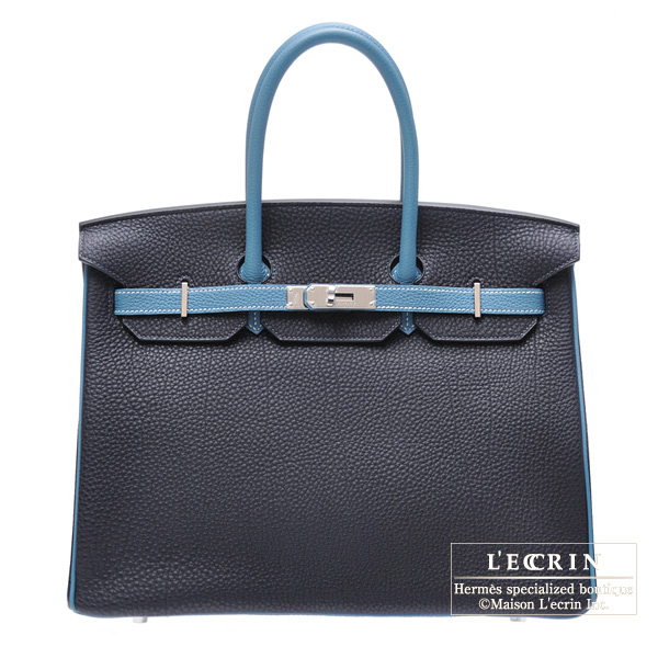 Hermes Birkin bag 35 Bi-color Blue de malte/Blue jean Togo leather Silver hardware