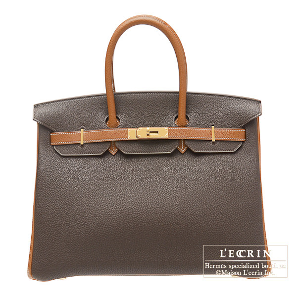 Hermes Birkin bag 35 Bi-color Chocolat/Orange Togo leather Gold hardware