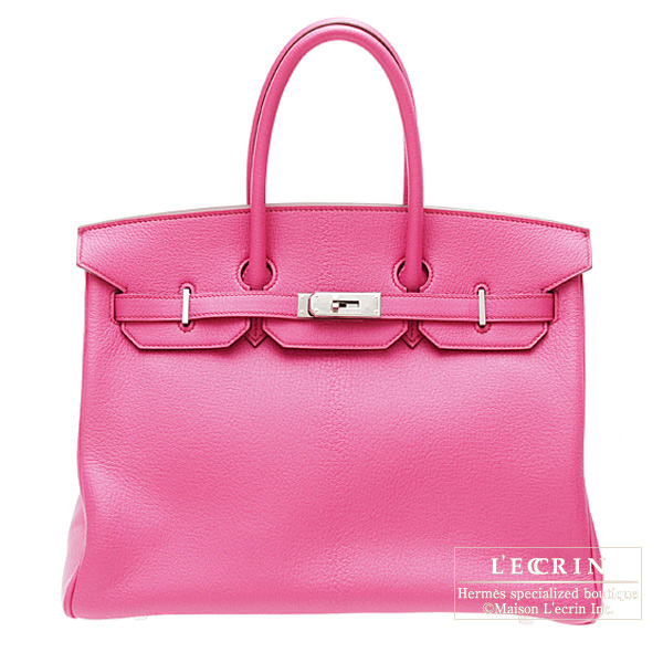 Hermes Birkin bag 35 Bi-color Fuschia pink/Orange Chevre goatskin Silver hardware