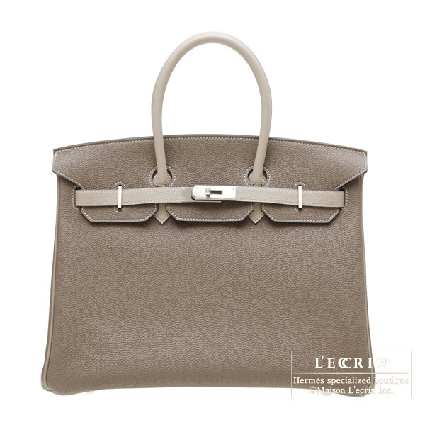 Hermes Birkin bag 35 Bi-color Taupe grey/Mouse grey Togo leather Silver hardware