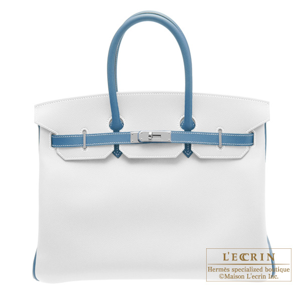 Hermes Birkin bag 35 Bi-color White/Blue jean Epsom leather Silver hardware