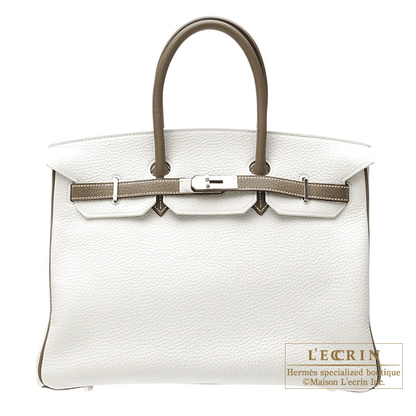 Hermes Birkin bag 35 Bi-color White/Taupe grey Clemence leather Silver hardware