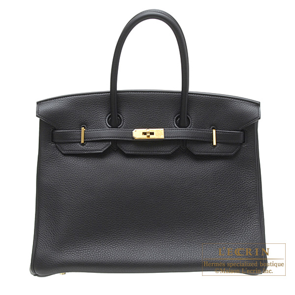 Hermes Birkin bag 35 Black Clemence leather Gold hardware