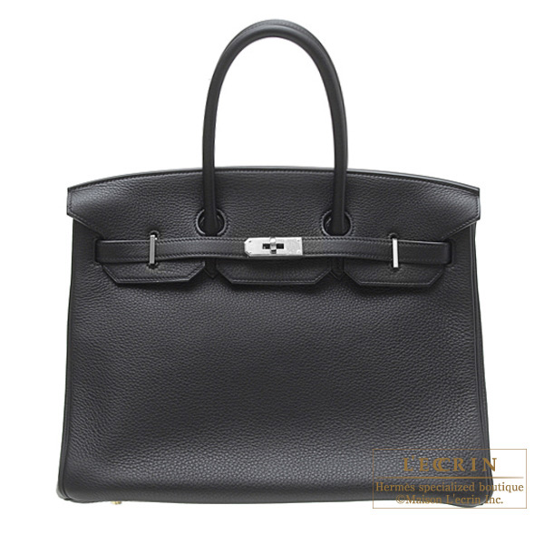 Hermes Birkin bag 35 Black Clemence leather Silver hardware